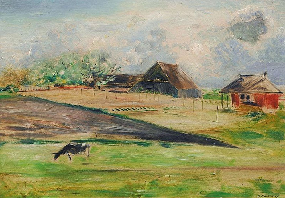 "Landscape with farmhouses – Alfred Partikel. Oil on panel, 25x35 cm (10""x14"")"