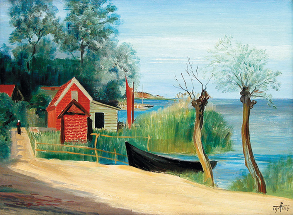 "Waterside scenery with fishing huts and boats (Pomerania) – Alfred Partikel, 1934. Oil on cardboard, 45x60 cm (18""x24"")"