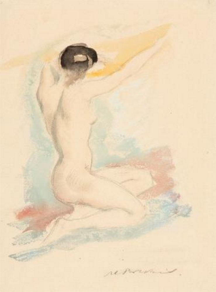 "Female nude from behind – Alfred Partikel. Watercolor and pencil on thin cardboard, 23x31 cm (9""x12"")"