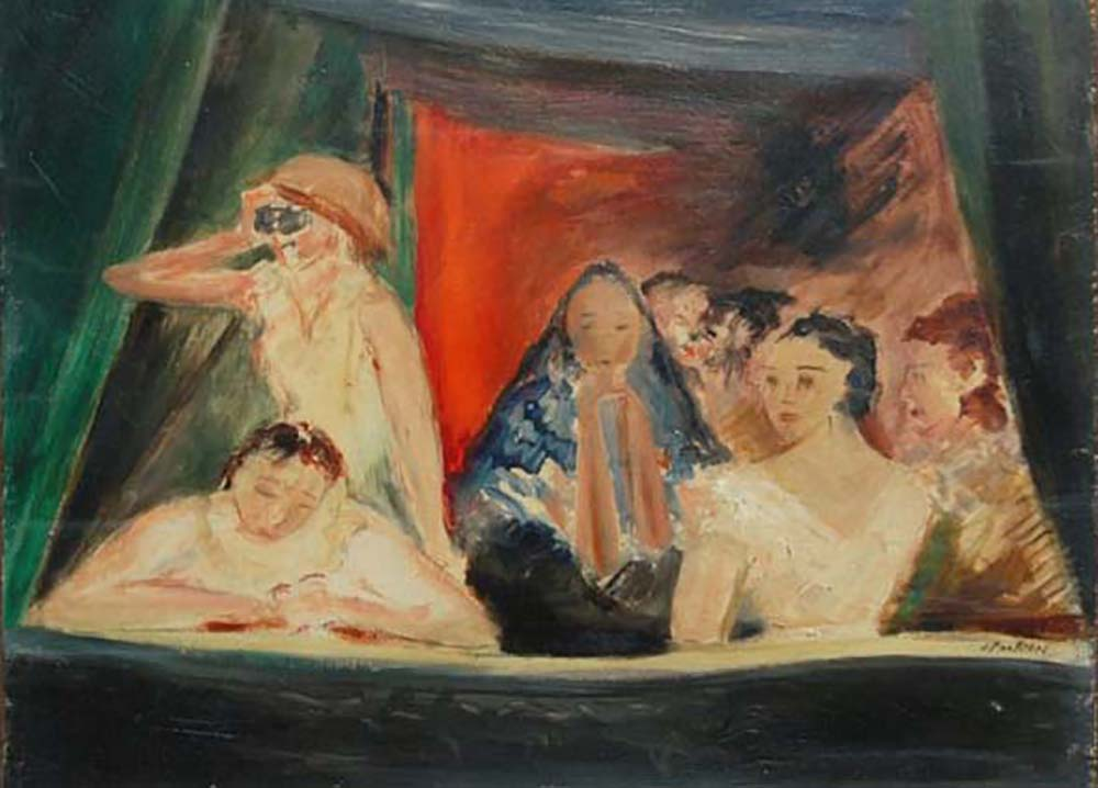 "The Balcony – Alfred Partikel, 1920. Oil on panel, 25x32 cm (10""x12.5"")"
