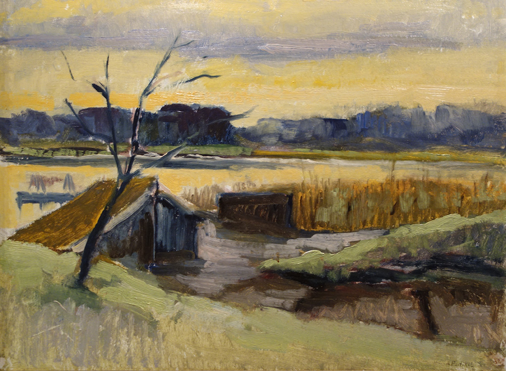 "Landscape of Ahrenshoop – Alfred Partikel, 1940. Oil, 36x47.5cm (14""x19"")"