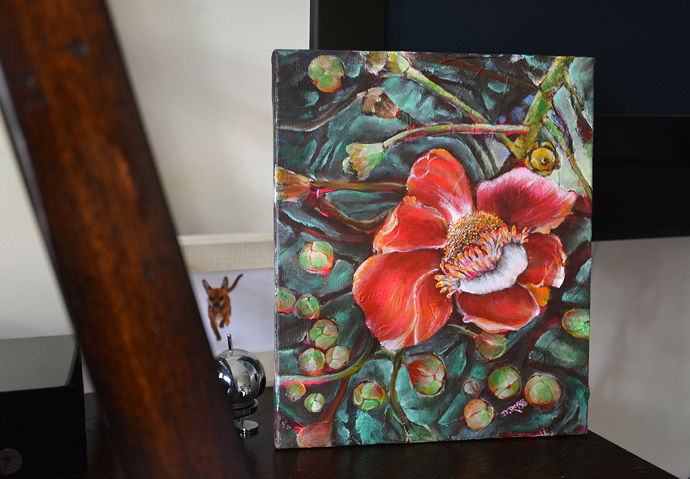 Russia Fine Art. Cannonball Tree Flower - Painting by Dimitrie Ross