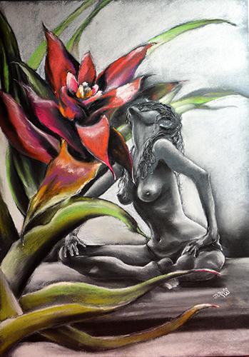 Dimitrie Ross Art – Дмитрий Росс. Женщина с цветком гузмании